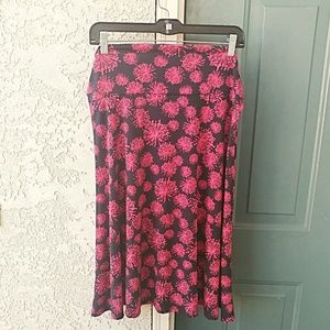 LuLaRoe Black Pink Print Bell Skirt Size XL